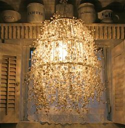 unexpectedintrusionsofbeauty:  DIY Pearl Strand Chandelier  Click through for instructions