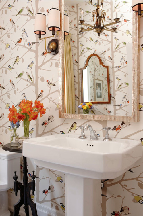 Love the wall paper! justinetaylor:   Design by Sarah Richardson and Thomas Smythe for Sarah's House 4 on HGTV Canada.  Photograph by Stacey Brandford.  Via Cherish Toronto.