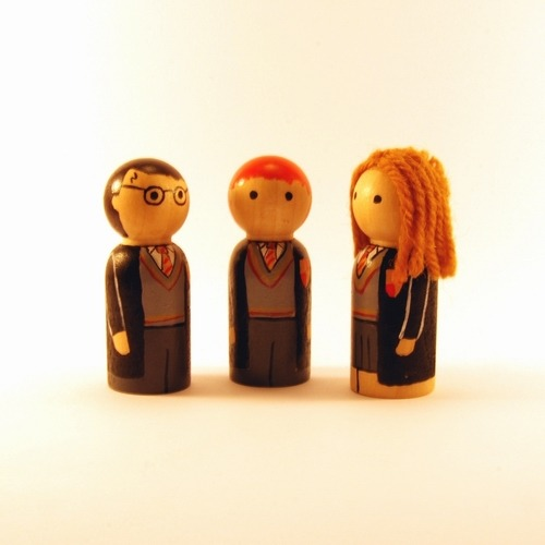 Peg people versions of Harry, Ron & Hermione