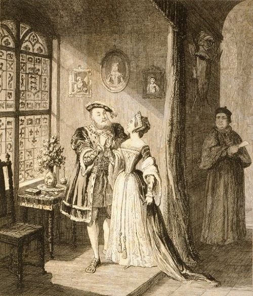 thusitakemyleaveoftheworld:  Henry's reconciliation with Anne Boleyn, by George Cruikshank (1792-1878)