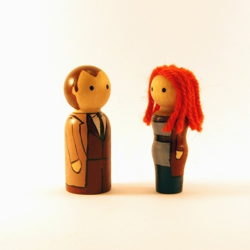 Peg people versions of the Tenth Doctor and Donna Noble - poor Donna :(
