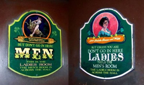 Tricky Bathroom Signs   The mix-up always ends up working in favor of the guys.