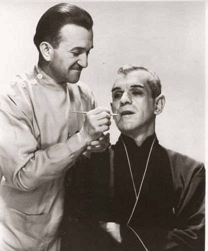 Jack Pierce doing Boris Karloff's makeup for The Black Cat (1934).