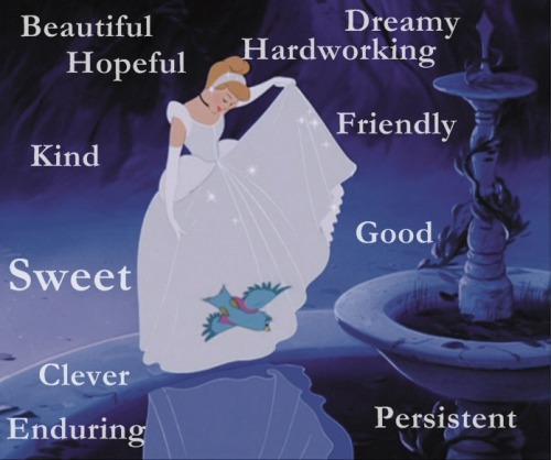"Cinderella  Inner beauty:  Cinderella lost her father very young. She is a strong willed and independent young woman who is truly beautiful because she doesn't let her anger and sorrow get the better of her. She is kind to most and is in no way depicted as naive or childish. She is extremely mature, persistent and has shown that she can overcome her obstacles without the aid of magic. Cinderella loves to dress up and dream of a better life.. she truly believes in true love and dreams and prince charmings. And she LOVES animals!  Best quality:.Cinderella was poor materially but so rich about her feelings and about her hopes. She proves that if you dream.. it will happen! Outer beauty: Cinderella is a beautiful young woman. She is tall, slender and softly shaped with a mild face. She has fair skin, pink lips and twinkling blue eyes. Her hair is light burnt orange and shoulder-length with soft bangs. (You dont have to look like Cinderella to be like her, always remember, inner beauty its what really matters. Your personality and your tastes and the way you are is what truly defines you as Cinderella.) Quote: ""A dream is a wish your heart makes."" So, are you mostly like Cinderella?"