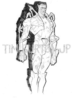 "Toy Concept Art from Tim Burton's Superman Lives: ""RECOVERY SUIT"" SUPERMANティム・バートンの「スーパーマン・リヴズ」 のマーチャンダイスのために描かれたスーパーマンのコンセプトアート。 ""RECOVERY SUIT"" SUPERMANSuperman wears this suit in the rejuvenation chamber in the Fortress of Solitude.Suit is laden with Kryptonian technology, including triangular-shaped energy ports for ""plugging"" Superman into the Eradicator technology (for restoration of his powers).Energy ""circulates"" visibly through the sculpted Kryptonian power matrix (use of light pipe and translucent areas on the figure).Likely to be dark metallic blue with light accent colors."