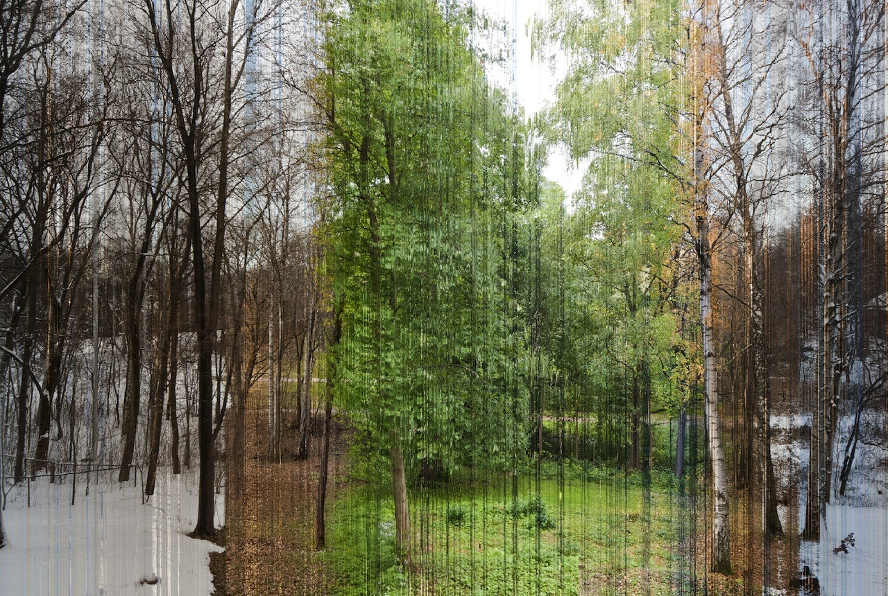 photojojo:  So cool! Eirik shot this time-lapse image over one year.  He had a script written that would grab one sliver from each of 3888 photos taken over the year and assembled them into a single photo. One Photo of 4 Seasons in Oslo Norway