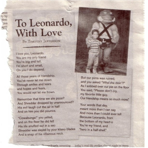 To Leonardo, With Love   Tim submitted this for every paper he ever had in college.