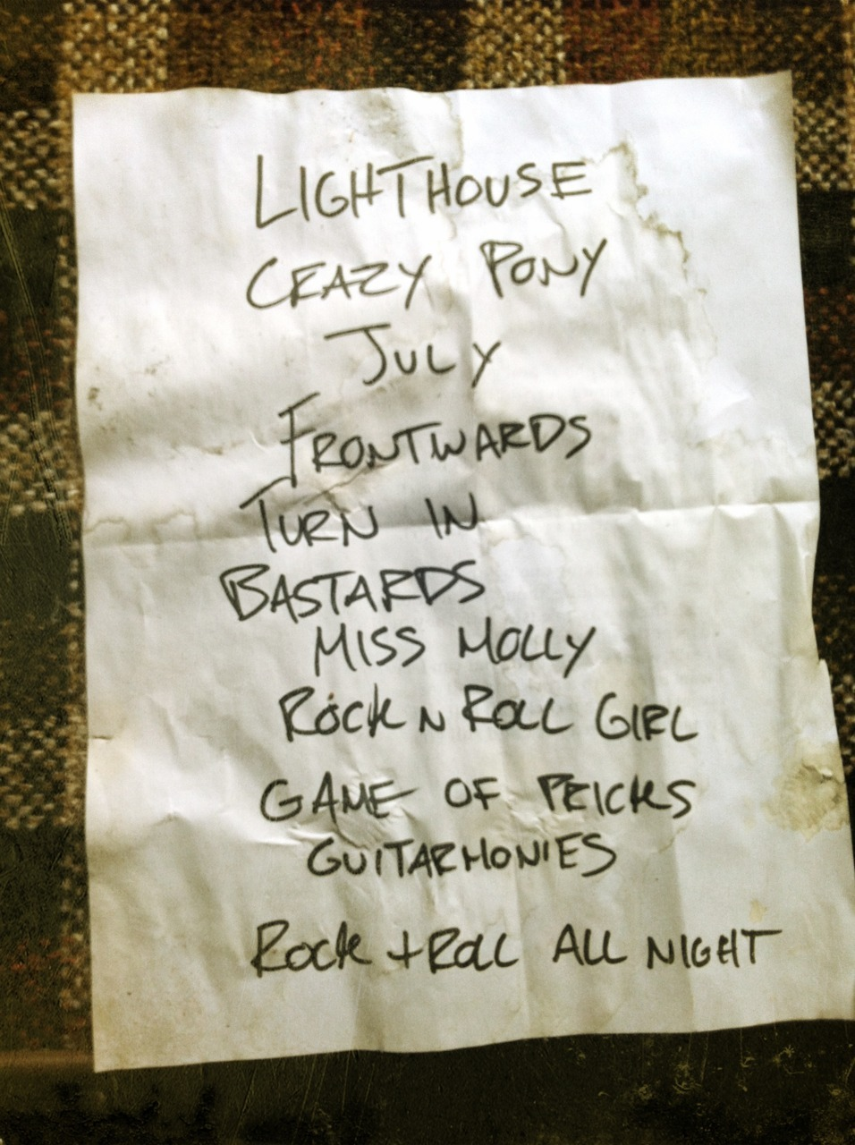 Our setlist from our New Year's Eve show at the Lo Pub. Happy 2012, everyone.