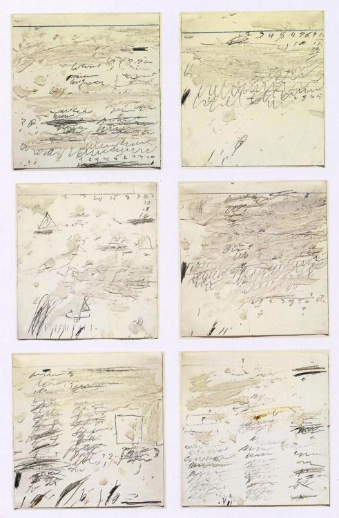 carmelitalikes:   Cy Twombly, Poems to the Sea i-vi, 1959, oil, graphite, wax crayon on paper.  Thank You thegameofart