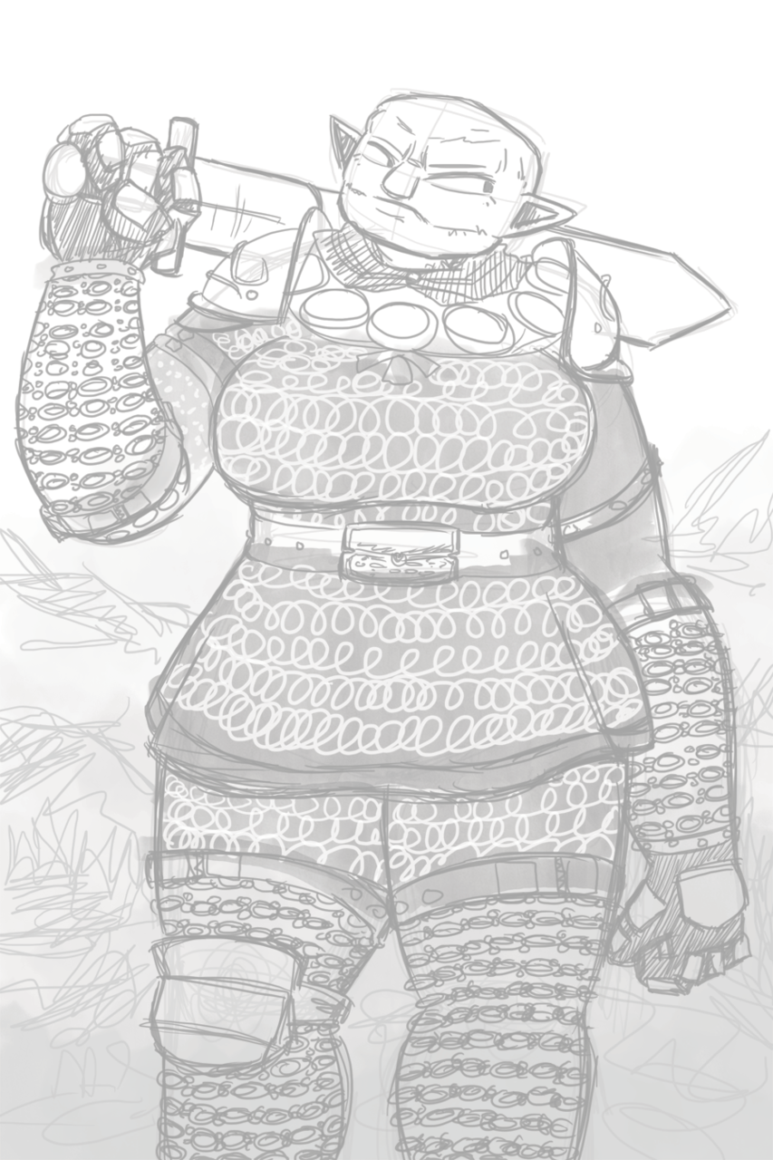 Dark Age of Camelot Troll Lady Warrior!  I loved this class/race. Dark Age seems to be the only MMO that had a big thick lady character. WoW has the Taurens, but even they're not as awesome as the stone trolls from Dark Age.  Still trying to get through this art funk. Moping about it didn't work, so I'm trying to force myself through it now. it's probably going to be pretty bad results, but it's something.