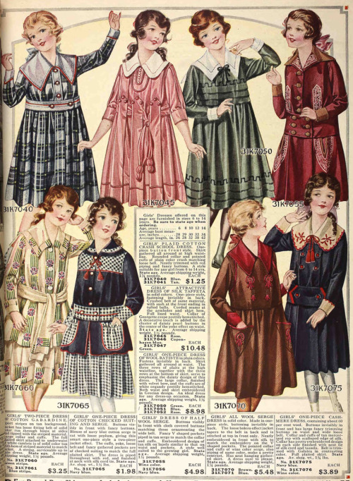 Wonderful girl's dresses from the Fall 1917 Sears catalog.