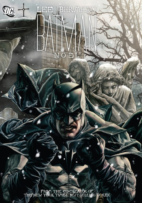 Batman: Noël Written by LEE BERMEJO; Art and cover by LEE BERMEJO  Inspired by Charles Dickens' immortal classic A Christmas Carol, BATMAN:  NOEL features different interpretations of The Dark Knight, along with  his enemies and allies, in different eras, from writer/artist Lee  Bermejo (JOKER).In this spectacular, oversized graphic novel,  Batman must come to terms with his past, present and future as he  battles villains from the campy 1960s to dark and brooding menaces of  today, while exploring what it means to be the hero that he is.