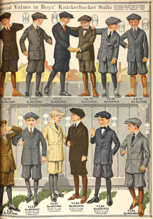 Smart boys' knickerbocker suits for a variety of budgets. From the Spring 1917 Sears catalog.