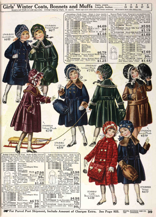 Cozy plush coats and bonnets for little girls from the Fall 1918 Sears catalog.