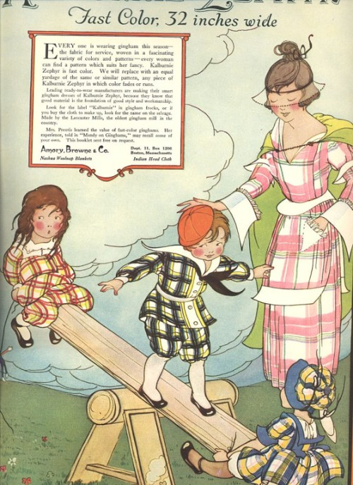 Bold plaids were considered especially fashionable in the late-1910s. This ad for Amory, Browne & co. fabrics ran in the April 1919 edition of The Delineator.