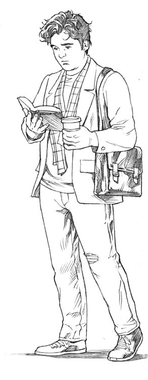 Ex Libris character design #2 Art by Michael Hamlett. This is a character design for SEAMUS, a character from our creator-owned graphic novel, Ex Libris. We're currently working up a pitch for Ex Libris that we plan on shopping around this summer and fall. Ex Libris is a story about literature. It's about how fiction bleeds into reality, influencing and shaping human life more than human life shapes it. It's about Beowulf. It's about a young writer who sees the magic in the old words, and his quest to bring that magic back to life. It's about monsters and heroes. It's about a world that no longer has a place for either of those things… for now. More to come! I'll be putting out one of these every day for the next few days. Yesterday, we focused on Erin. Please support this page and, for more updates on this story and many others, like my Facebook page.