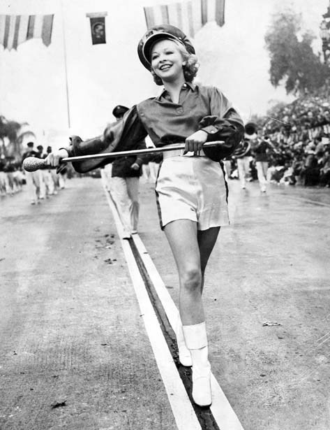 A majorette at the 1940 Rose Parade via LA Times Isn't she cute as a button?