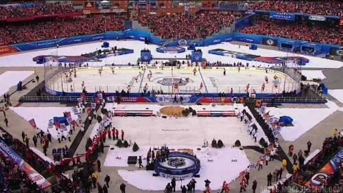The 2012 NHL Winter Classic just started on NBC. Outdoor hockey looks beautiful in sunny Philadelphia. (source)