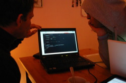 The hackers: putting together back- and frontend. Berlin, 1.35am.