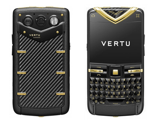 Vertu Constellation Quest smart phone As owned by Irene Adler in A Scandal in Belgravia Black and yellow gold cover with sapphire keys. Symbian OS.2.5 inch display. 32GB memory. 5MP camera. £17,300 / $26,835 Available at Vertu Boutiques only