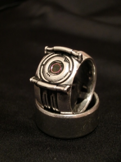 Portal 2 Fact Ring 3D printed in Silver at Shapeways