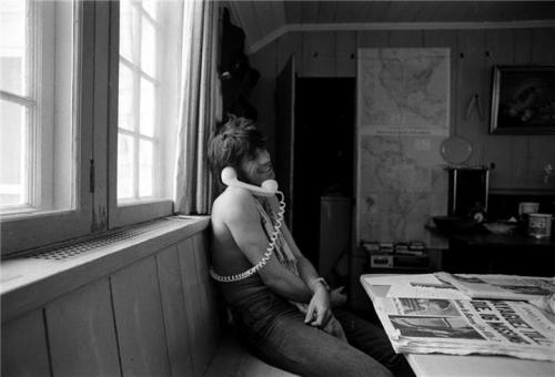 Keith Richards, at Andy Warhol's Montauk home in 1975.