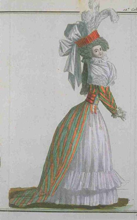Magasin des Modes, March 1788. Stripes.  Love.