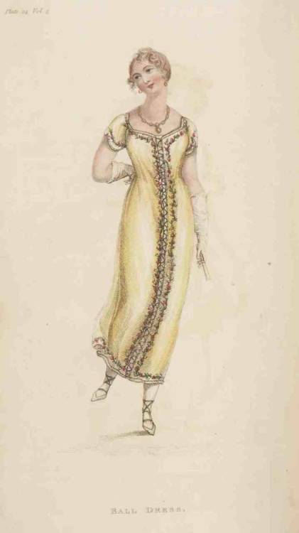 Ackermann's Repository, Ball Dress, April 1811. Too short!