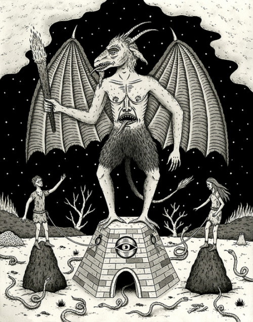 """The Devil and his Two Acolytes"" (based on tarot card) India ink on paper 11"" x 14"" 2011"