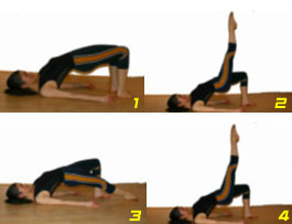 Daily Pilates Pose 21: Shoulder Bridge 1. Lie on your back with your knees bent, hips width apart, and the soles of your feet planted firmly on the mat. 2. Squeeze your buttocks up off the mat and  and raise your hips until you are able to place a hand under the back of each hip. Your elbows should be directly under your hands, fingers facing outward. 3. Stretch one leg out long in front of you and kick it up to the ceiling. Flex your foot at its highest point and, exhaling, lower your leg, stretching out long again. 4. Complete 3-5 kicks then return your foot to the original position. Repeat the sequence with your other leg. Kick only to the highest point you can manage without dropping your back. If you have back, knee, wrist, or elbow injuries, you may want to skip this exercise.
