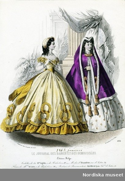 Ballgown and mantle, 1863 France, Le Journal des Dames et des Demoiselles