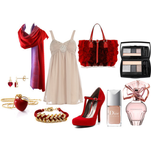 Little Red Ridding Hood (Party) by lil-mexico-009 featuring red jewelryDorothy Perkins strappy dress, $44Guess heels, $62Valentino handbag, $1,795Kenneth Jay Lane red jewelry, €85Heart earrings, $85Ettika red jewelry, $49Cashmere shawl, £156Lancôme 'Color Design' Shadow & Liner Palette - Fall Collection, $48BCBGMAXAZRIA Eau de Parfum, $75Dior 'Vernis' Nail Lacquer, $22