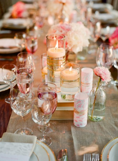 pink and vintage wedding tables