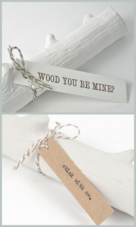 truebluemeandyou:  truebluemeandyou: DIY Valentine's Branch Message. Reblogging because this is the cheapest but most creative alternative to boring store bought cards I've posted (besides the You Light Up My Life Matchbox here, and the Carved Heart in the Branch Photo Holder here). For over 25 pages of hearts/Valentines Day DIYs go here: truebluemeandyou.tumblr.com/tagged/hearts    DIY Valentine's Day Inspiration from SHinH catalog online at Flickr here. These are fake wood, but you could either be crafty and do it out of polymer clay (not so easy) or paint cut branches or leave it natural. *Edit: The originals may be made out of chalk as I finally found their website and they make something like this for BHLDN here.       Wood You Be Mine? here. Stick with Me here.