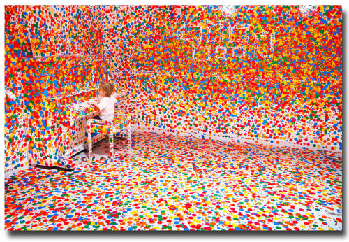laughingsquid:  The Obliteration Room, Kids Cover All White Room in Polka Dots