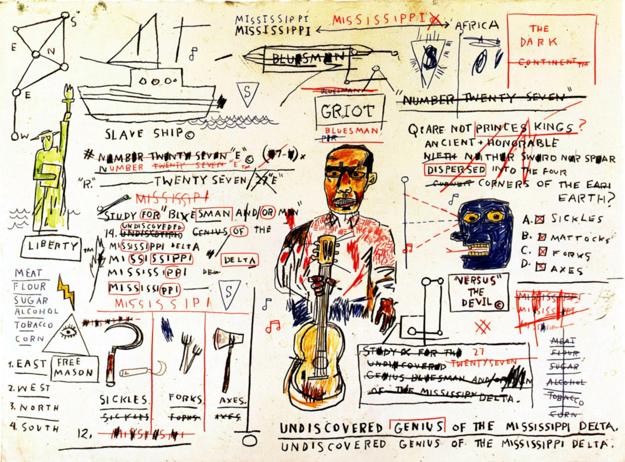 "Undiscovered Genius of the Mississippi Deltaby Jean-Michel Basquiat (1983) ""Are not princes kings? Ancient and honorable. Neither sword nor spear…"" reblogged from mttblck:"
