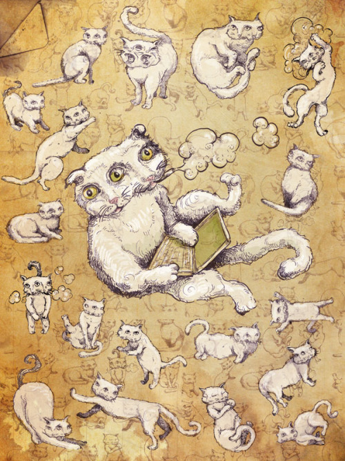 "laughingsquid:  The Cat by Molly Crabapple  I like the painting but I also like the fact that the artist's name is ""Molly""."