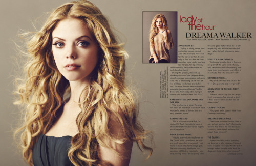 Happy New Year!!! :) Dreama Walker in Zooey Magazine January Issue You may not know Dreama's name now but you will soon!  Dreama was literally a dream to photograph - I love working with actors who are on the brink of big success but are still passionate and excited.  Dreama co-stars with Krysten Ritter and James Van Der Beek for ABC's new show  Don't Trust The B——- in Apartment 23  Styling by Jacque Saladino Hair by John Ruggiero @ Starworks Makeup by Melissa Rogers @ Celestine Photo Assistance by Jonathan Harmon © 2012 Diana King