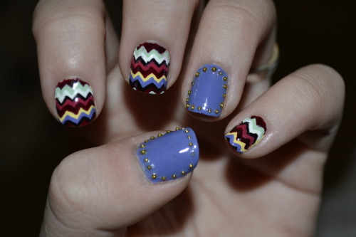 My nails this week! Missoni inspiration with studs!