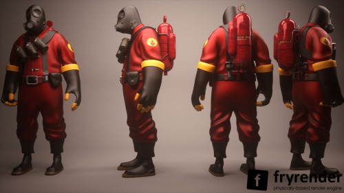 "fuckyeahtf2:  Freebie: Epic 3D Character Model Of Pyro From Team Fortress 2 Today we're super excited to bring you this amazingly detailed character model from Cgtuts+ regular Shaun Keenan. Shaun has re-created ""Pyro"" from Valve's hit game Team Fortress 2 in glorious detail, and is making the model available to the Cgtuts+ community for free! Models of this quality are rarely made available free of charge, so seize the opportunity and download it today! My name is Shaun Keenan and I am a character modeler and rigger. I am currently unemployed and looking for some full time work. I have created this Pyro character in homage to Valve's Team fortress 2 Game. It's a game with a very stylized and overall awesome style. Very fun to play in terms of the visual appearance and look. This game and company is a very large sense of motivation in all my artwork. This is my contribution to the CG community.  ——————————————————————— Source: http://cg.tutsplus.com/articles/news/freebie-epic-3d-character-model-of-pyro-from-team-fortress-2/ Reddit link source: http://www.reddit.com/r/tf2/comments/nzxwp/3d_model_of_pyro/"