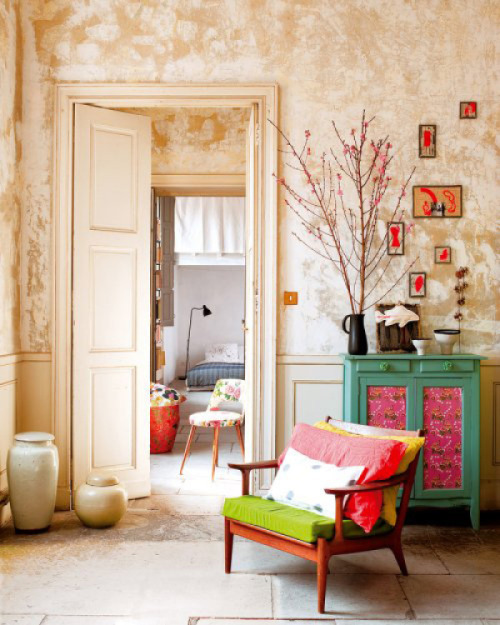 Neutral walls and bright furniture