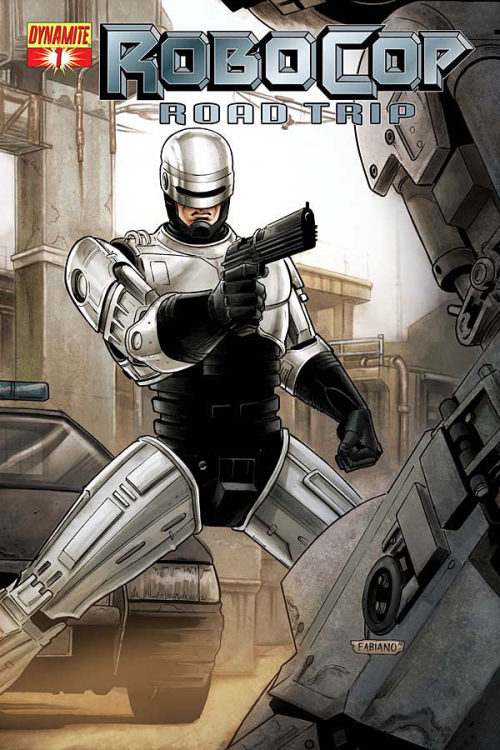Comic Book Preview: 'Robocop: Road Trip' #1  Continuing the story from  Dynamite's Robocop series, America has fallen into a landscape of  revolution and chaos and OCP has taken over Old Detroit from the  authorities in a political coup. It's up to Robocop and what's left of  the Old Detroit Police Department to try and make it out of the state in  order to get help from the US military. But ED-309s patrol the streets  and OCP has a new, deadly robot prototype to send after Murphy and co.  Meanwhile, Robocop's sanity continues to crumble along with his country.