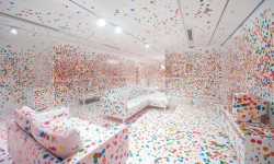 youngna:  Artist Yayoi Kusama gives children thousands of colored dot stickers to cover an all white room. This is what happens.