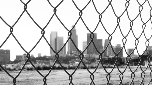 Downtown LA through the fence…
