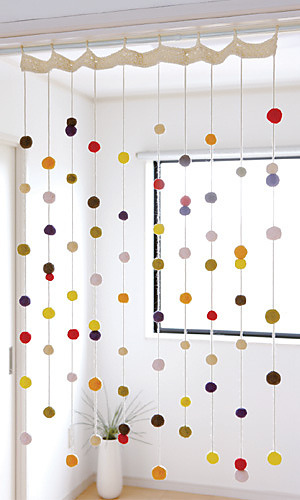 winsomethings:  cute felt dot/string curtains!