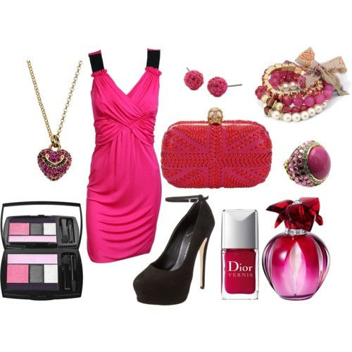 Suit Up (Pink) by lil-mexico-009 featuring a bright pink dressD G bright pink dress, £279Giuseppe Zanotti platform shoes, $695Skull handbag, $1,995Juicy Couture yellow gold necklace, $20Glitter ring, $23Mixit bow jewelry, $6Facets jewelry, $18Lancome 'Color Design' Shadow & Liner Palette 304 Lilac Seduction One…, $48Cartier 'Delices' Eau de Parfum No Color 3.3 oz, $145Dior New Dior Vernis Nail Lacquer, $22