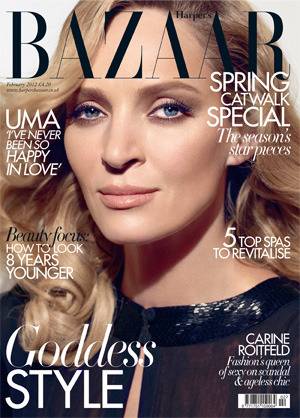 Uma Thurman in Harper's Bazaar February 2012 issue