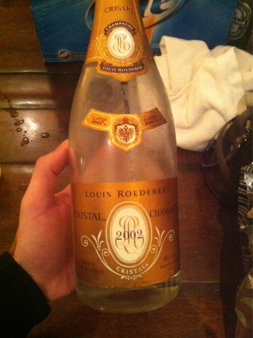 Drinking literal Cristal for Rose's last night home heheh