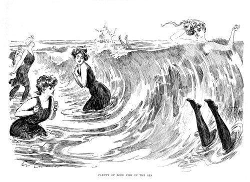 mrscaravaggio:  Charles Dana Gibson - Plenty of Fish in the Sea - 1901 Swimming in stockings is both impractical and really cute.