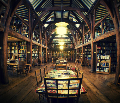 tatteredcover:  Library as cathedral: byeblos:  temple [Bedales School, Petersfield, Hampshire, United Kingdom]